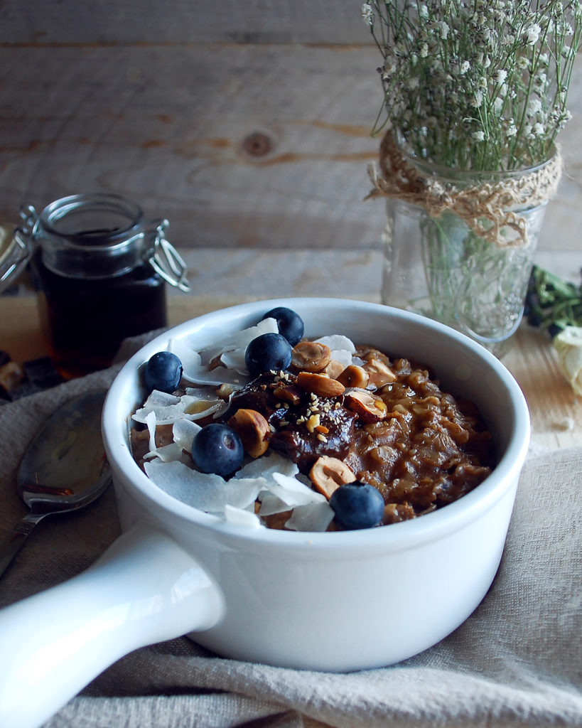 Oats with homemade chocolate hazelnut butter coconut flakes the this chocolate hazelnut butter gives you the best of both worlds healthy and delicious i use high quality dark chocolate roasted hazelnuts ccuart Choice Image