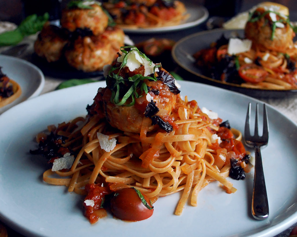 Turkey Meatballs with Chunky Tomato Basil Sauce & Whole ...