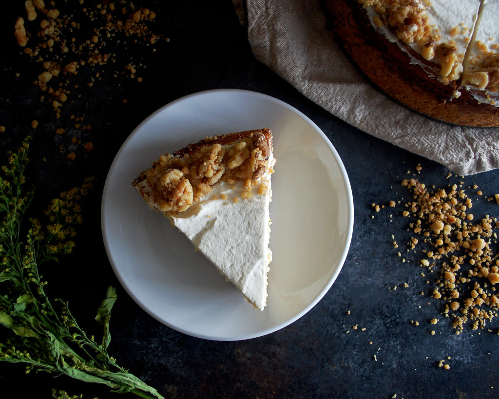 St. Patrick's Day Irish Cream Cheesecake with Walnut Streusel