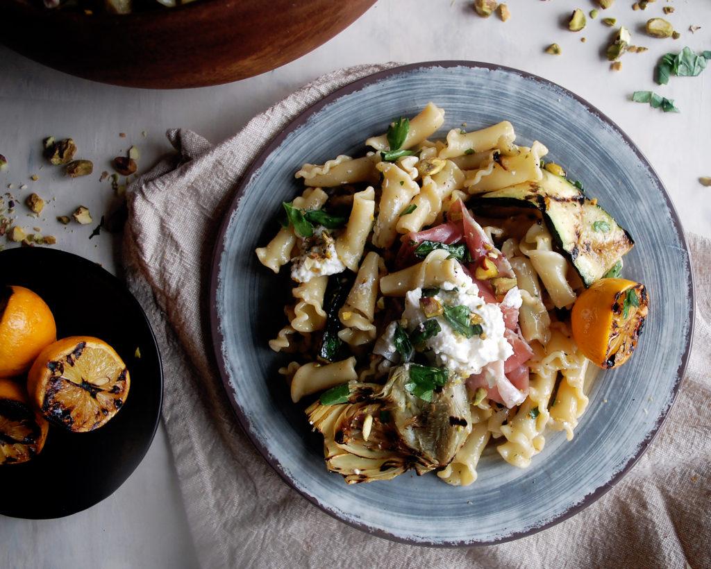 Artichoke & Burrata Pasta Salad with Charred Meyer Lemon Vinaigrette