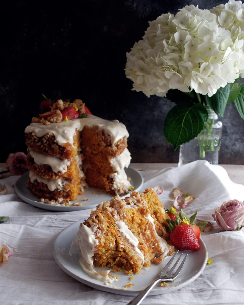 Coconut Carrot Praline Cake with Cream Cheese Frosting