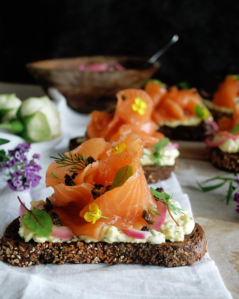 Deviled Egg Gravlax Tartines