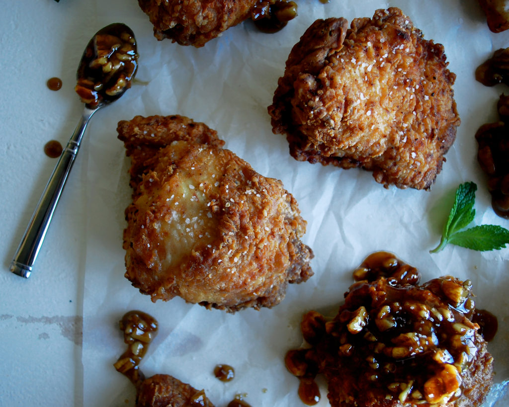Spicy Buttermilk Fried Chicken with Bourbon Pecan Glaze