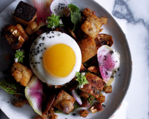 Harissa Kohlrabi Panzanella with Fried Eggs