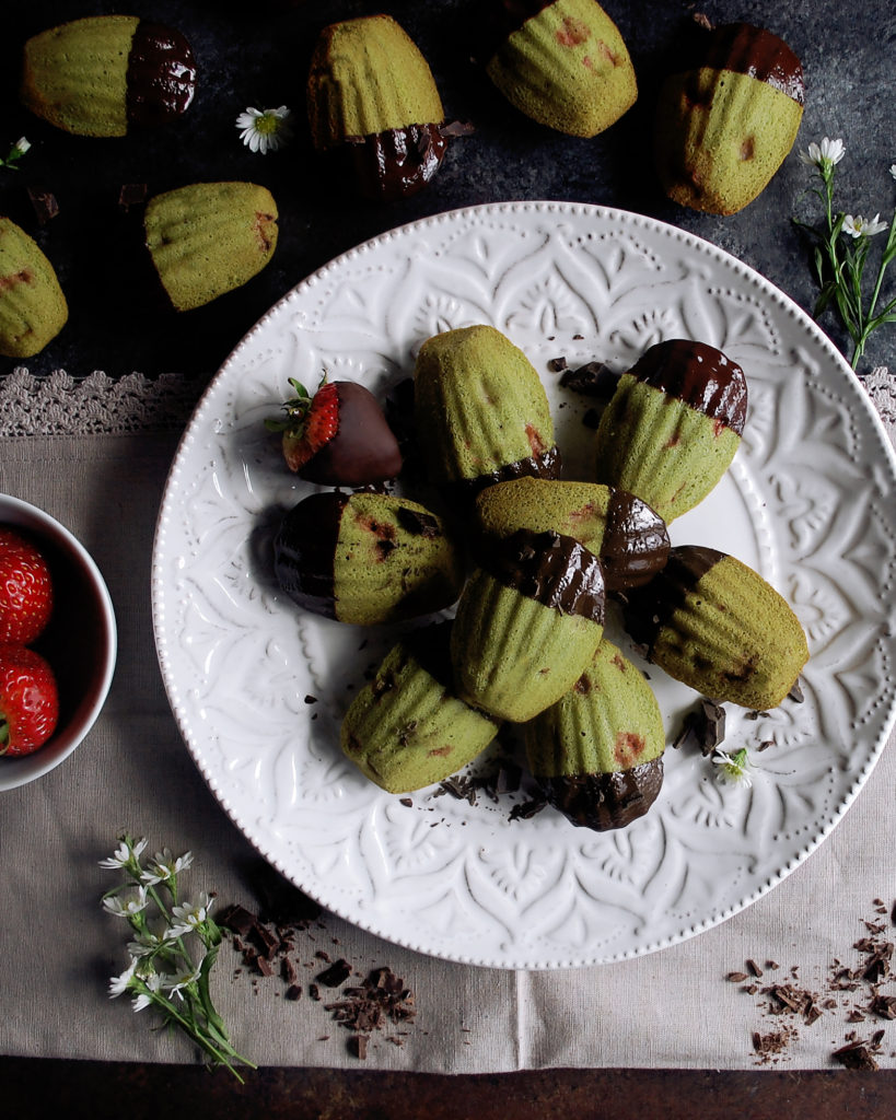 Chocolate Strawberry Matcha Madeleines