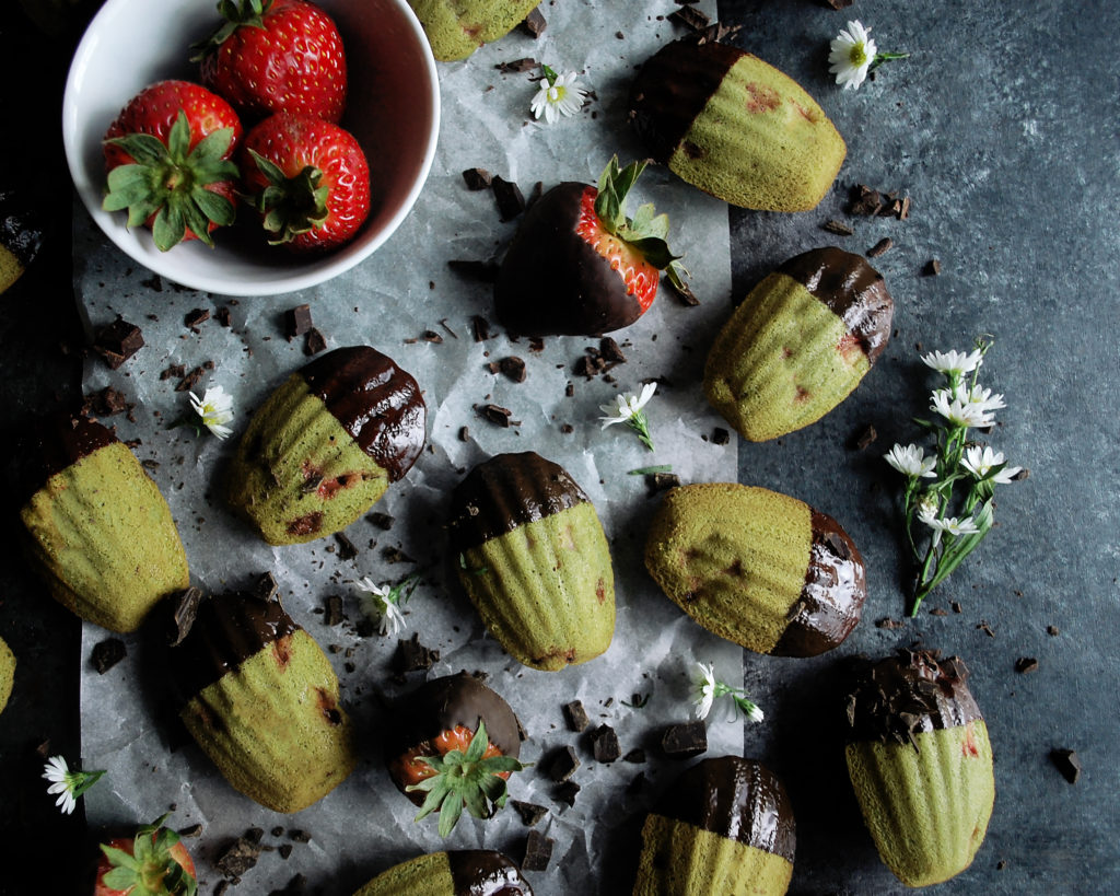 Chocolate Strawberry Matcha Madeleines