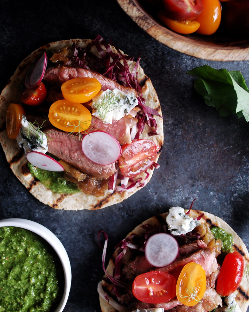 Steak Tacos with Arugula Pesto