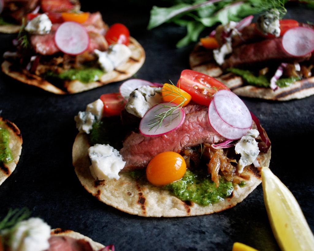 Steak Tacos with Arugula Pesto