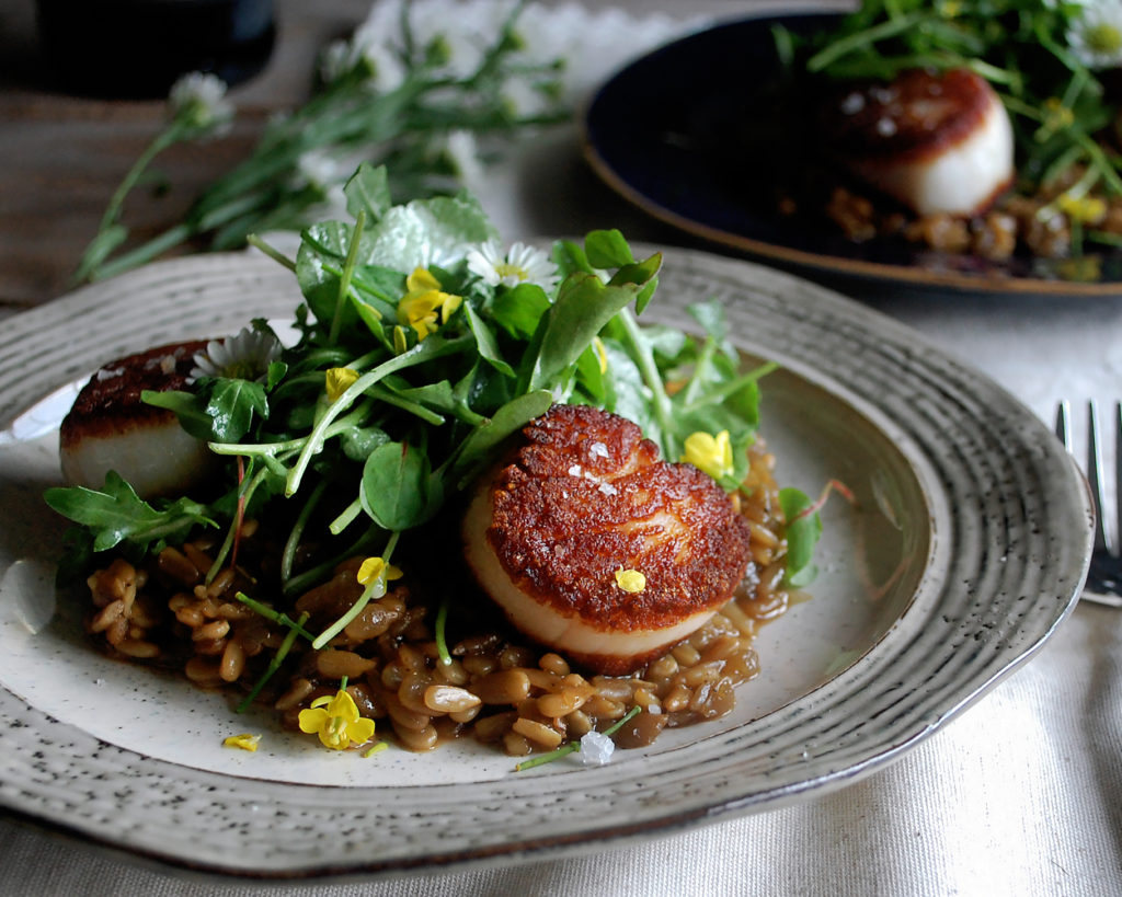 Sunflower Seed Risotto with Seared Scallops