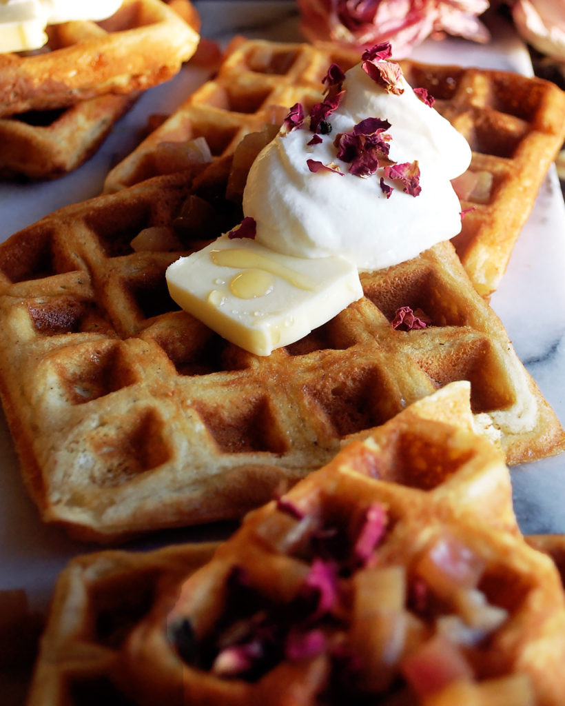 Waffles with Rhubarb