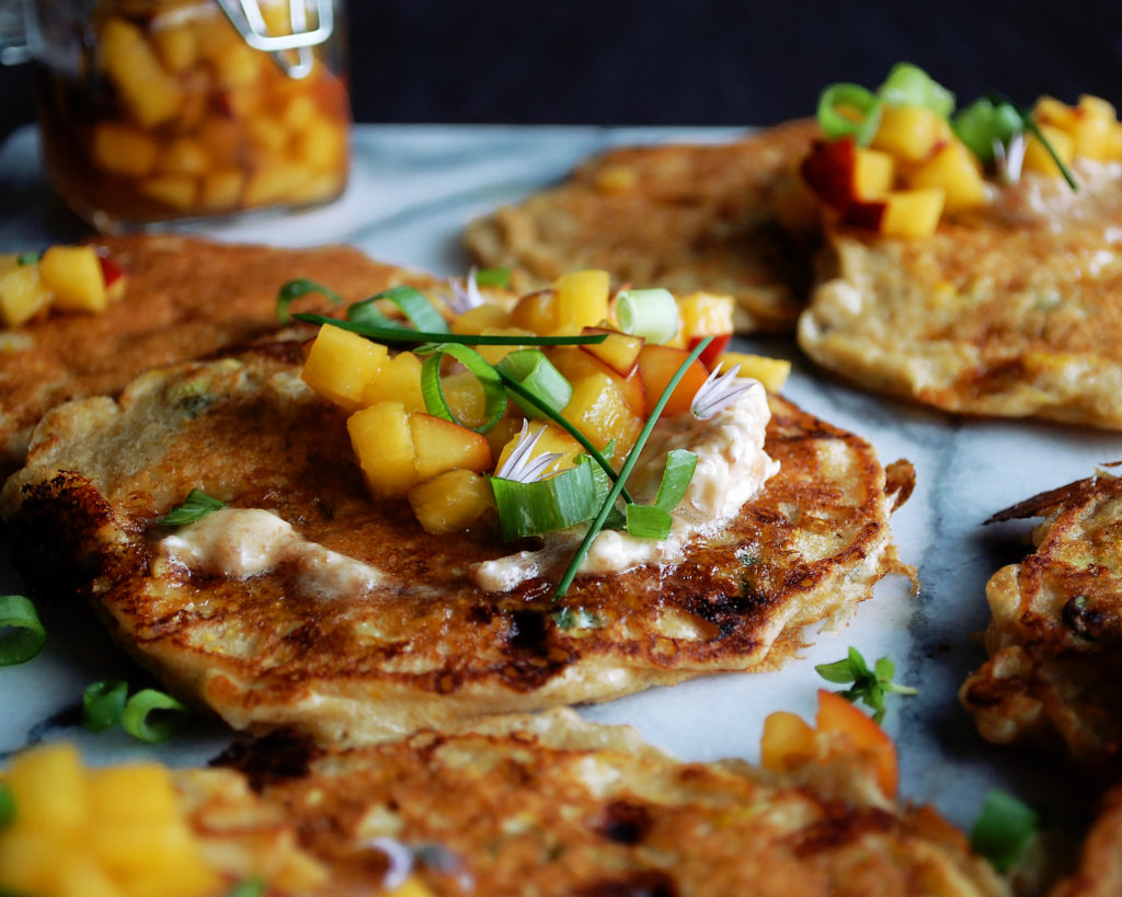 Cornmeal Pancakes with Peach Honey Syrup