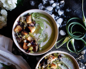 Green Grape & Garlic Scape Gazpacho