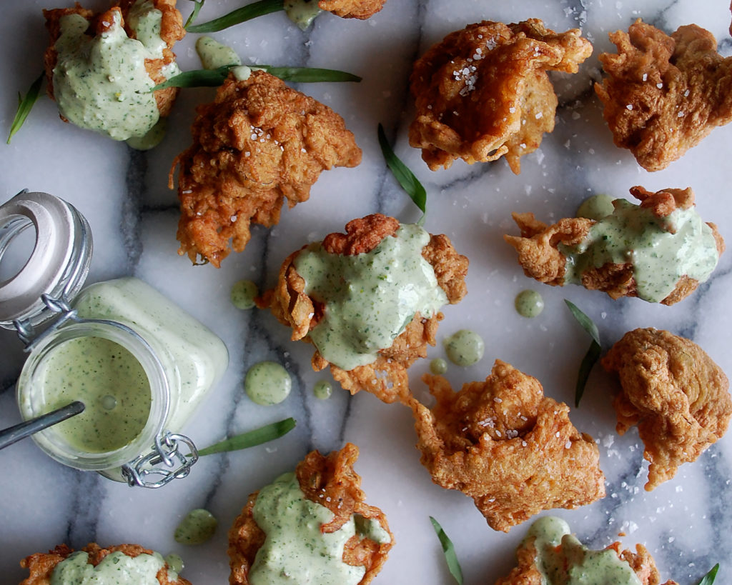 Crab Fritters with Green Goddess