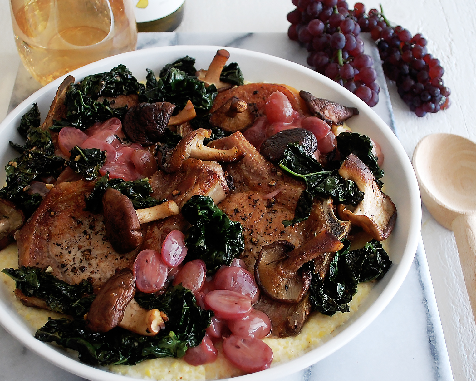 Pork Chops with White Wine Grape Sauce & Polenta - The ...
