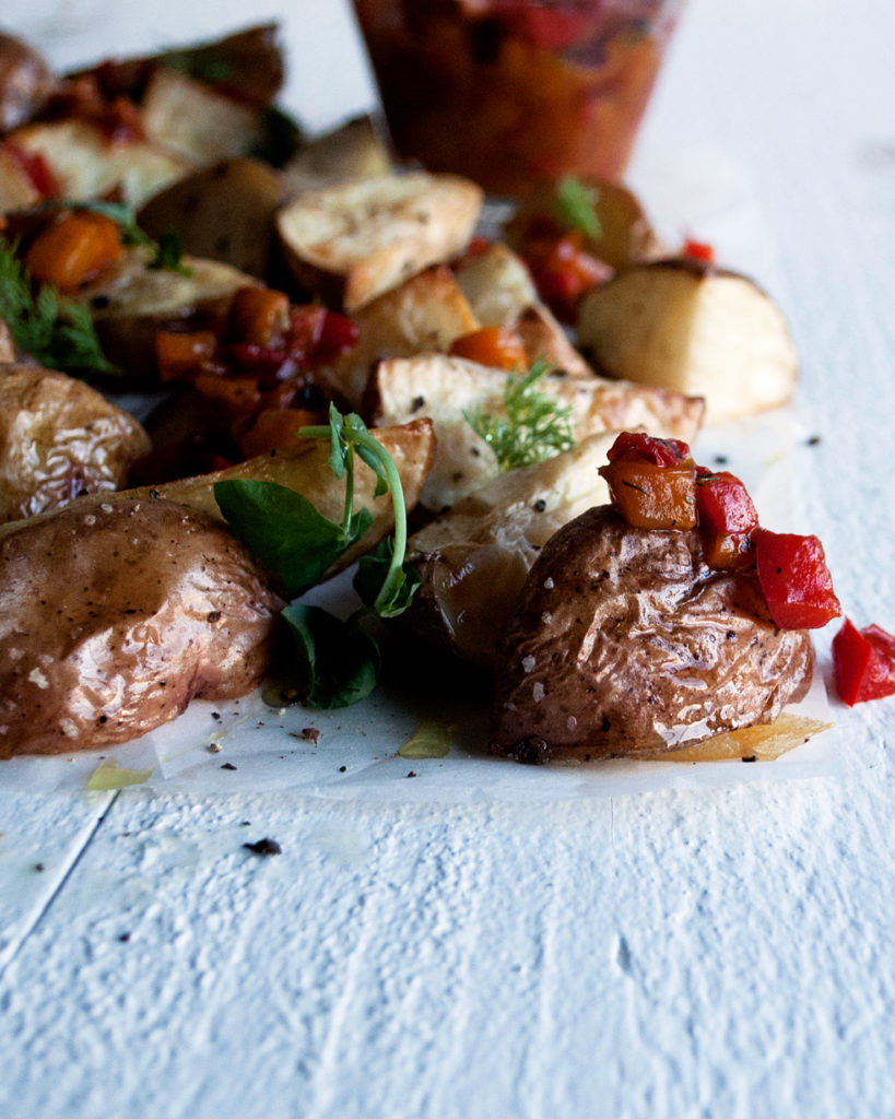 Roasted Potatoes with Sweet Pepper Mostarda