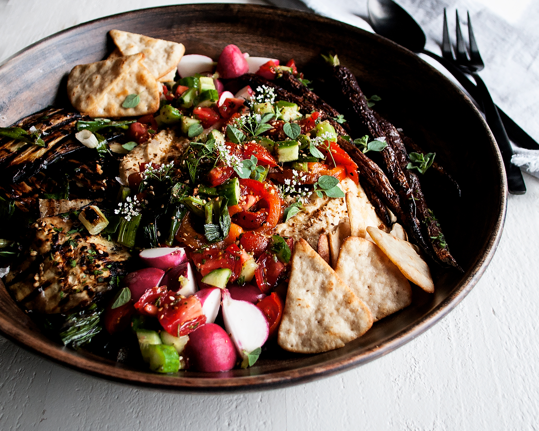 Grilled Vegetable Hummus with Herbs & Olive Oil - The Original Dish