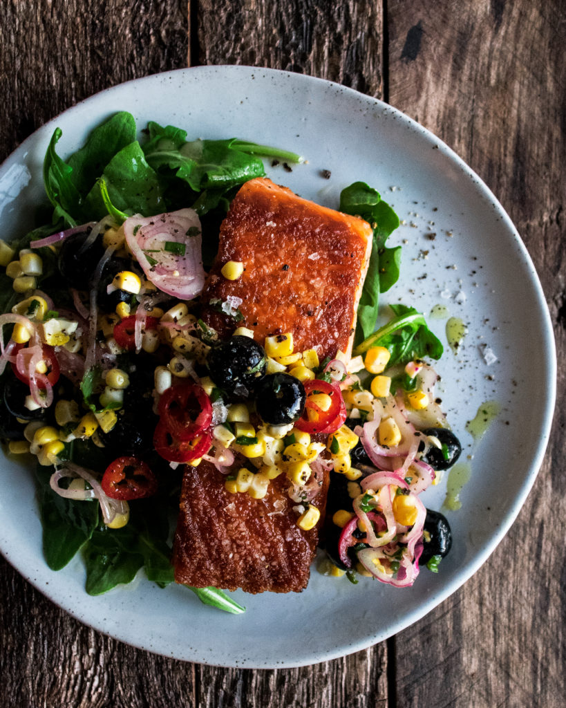 Seared Salmon with Corn & Blueberries