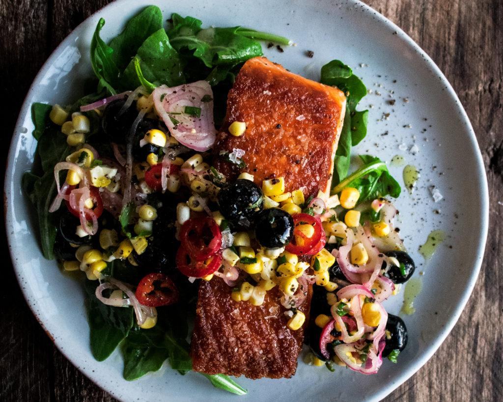 Seared Salmon with Corn & Blueberries