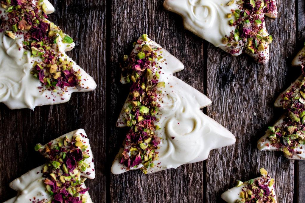 Pistachio Rose Sugar Cookies