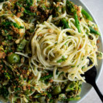Green Olive Linguine with Broccolini & Lemon Breadcrumbs