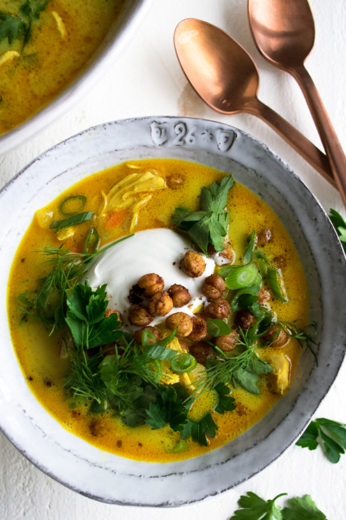 Turmeric Coconut Chicken Soup With Yogurt Herbs The Original Dish