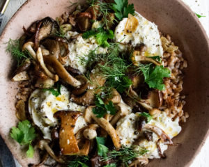 Brown Butter Farro with Mushrooms
