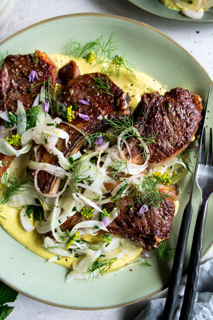 Lamb Chops with Fennel Slaw