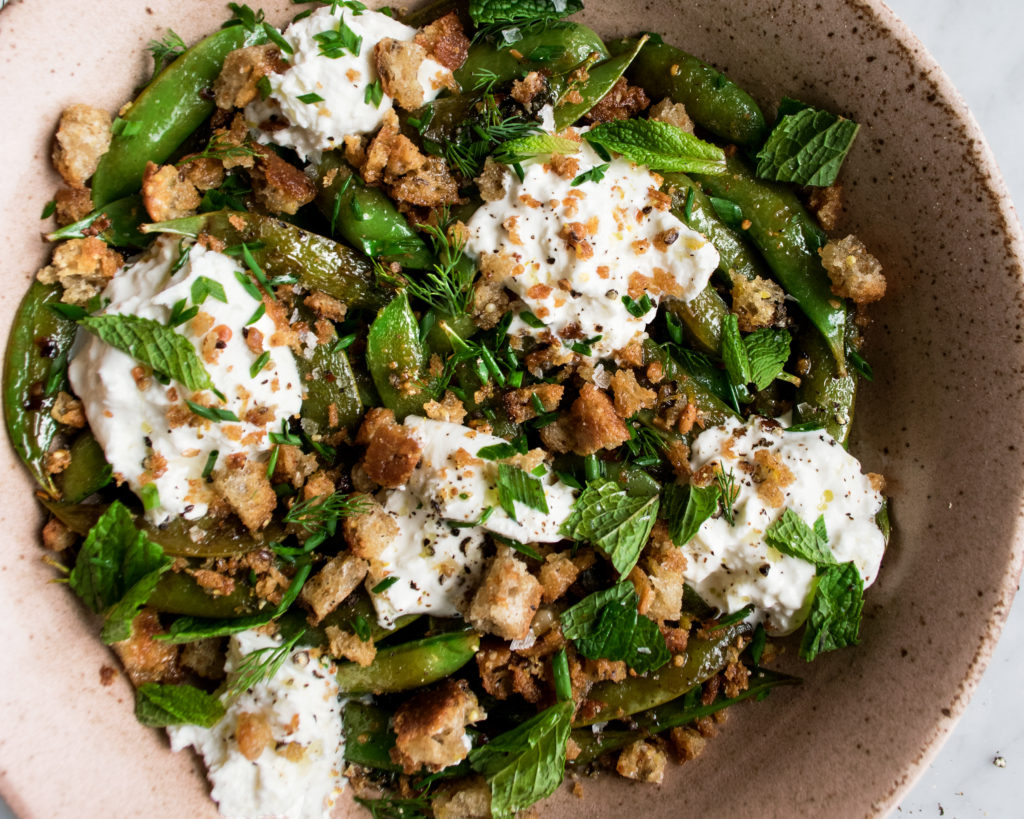 Blistered Snap Peas with Burrata