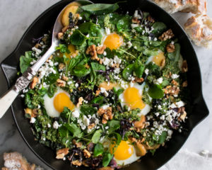 Baked Eggs with Walnut Pesto