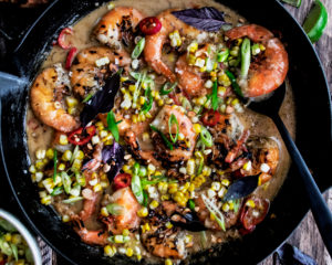 Grilled Shrimp with Spicy Coconut Broth