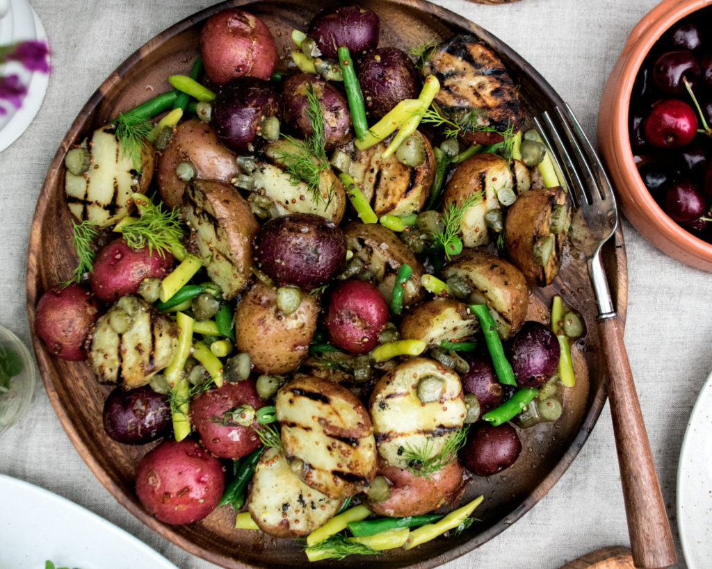 Grilled Potatoes & Beans