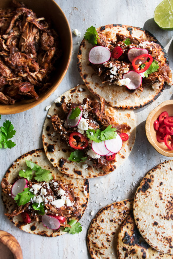 Chipotle & Pomegranate Braised Chicken Tacos