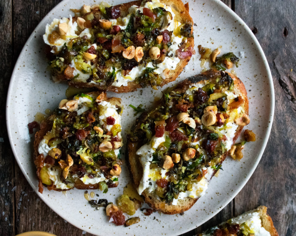 Caramelized Brussels Sprout Toast