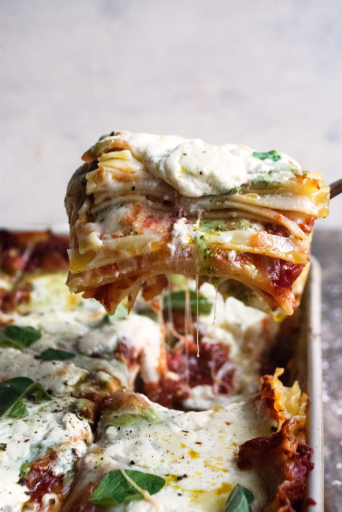 Christmas Burrata & Pesto Lasagna