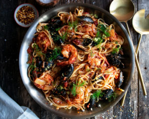 Spicy Tomato Seafood Pasta