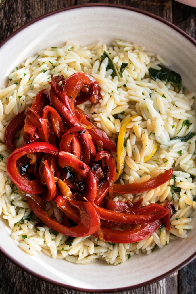 herb orzo and stewed peppers