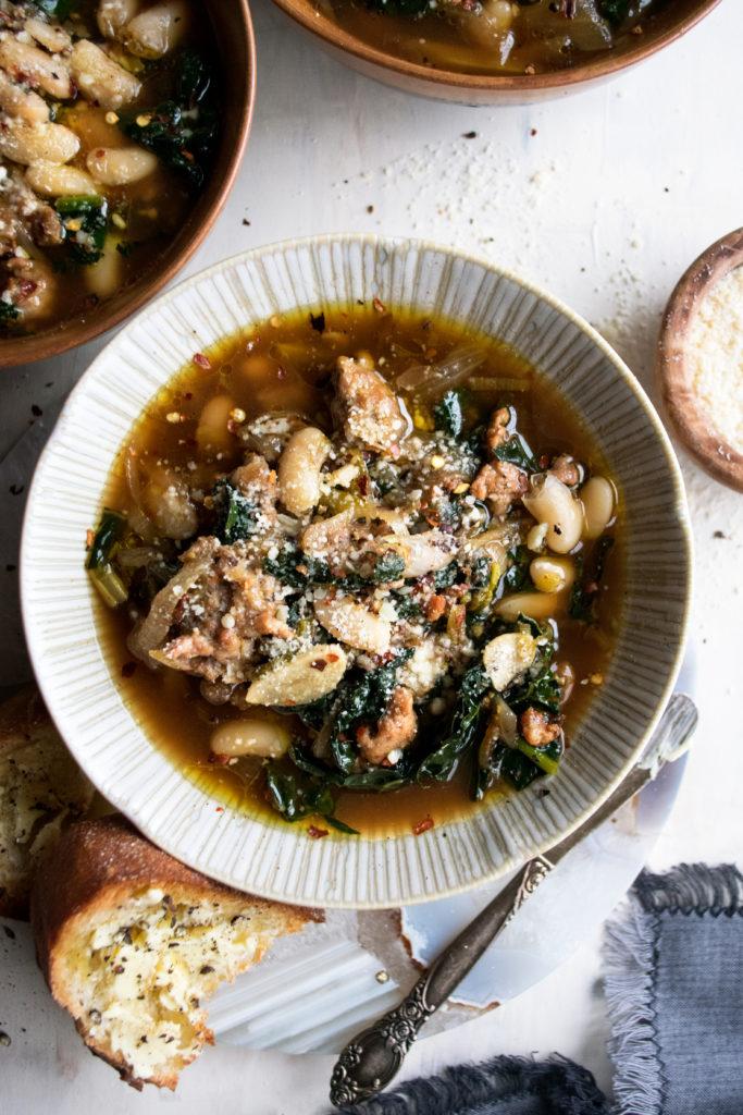 Kale & Sausage White Bean Soup