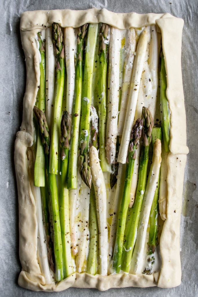 puff pastry with mascarpone and asparagus, edges folded