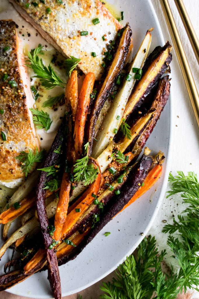 Simple Salmon Dinner with Roasted Carrots