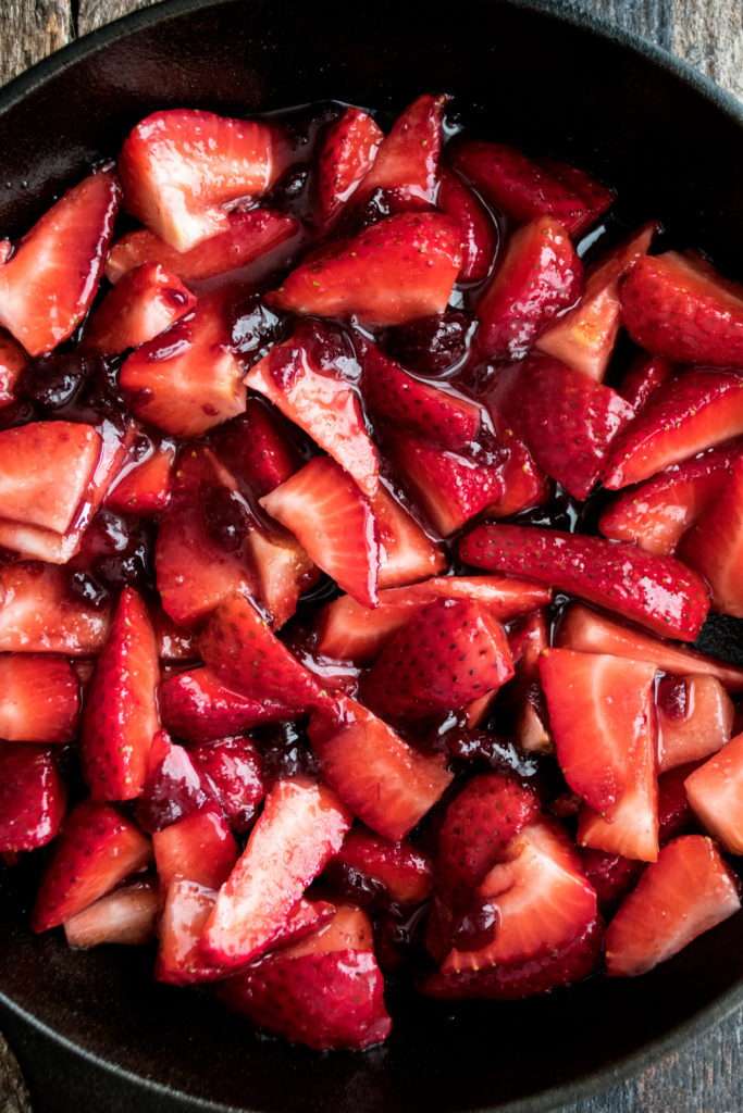 strawberry mixture in skillet