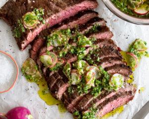 Flank Steak with Radish Chimichurri