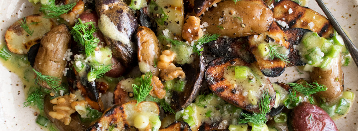 Grilled Potatoes with Scallion Vinaigrette