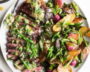 Seared Strip Steak with Crispy Potatoes