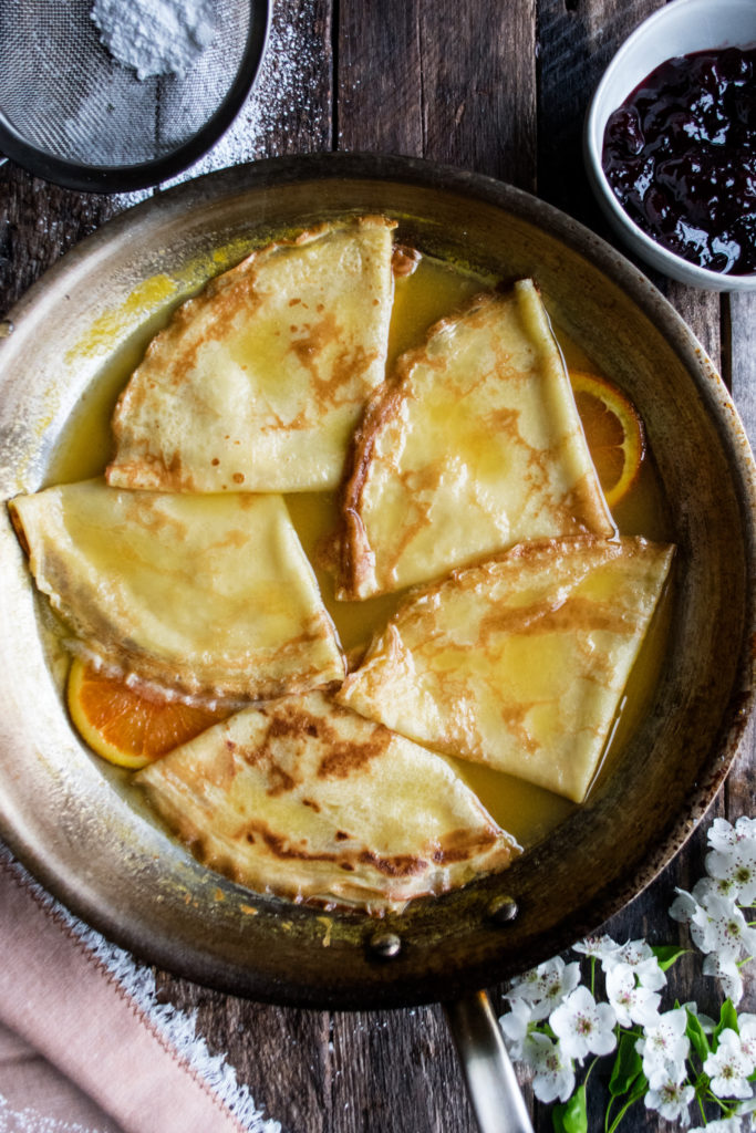 crepes in orange syrup