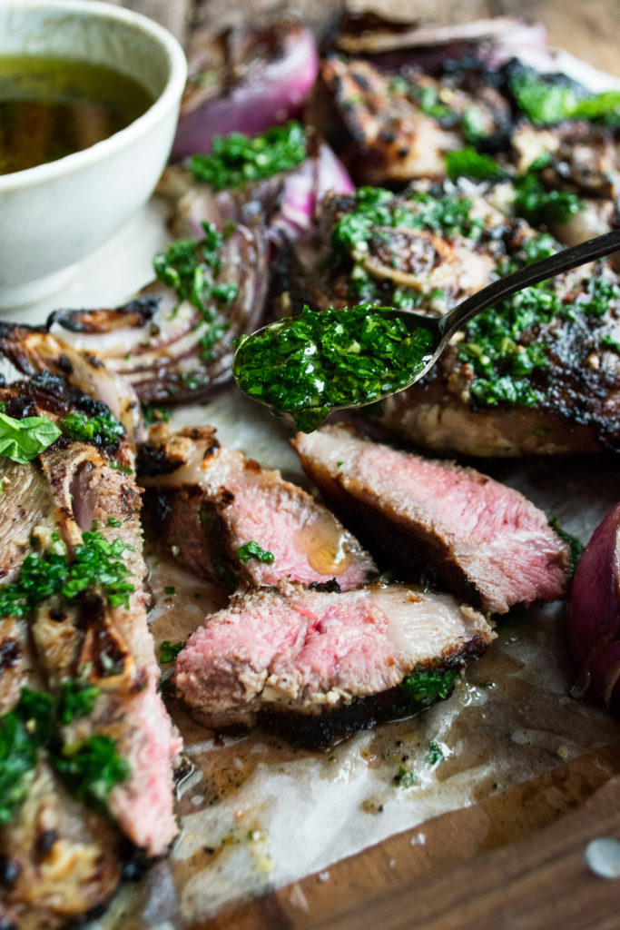 Grilled Lamb Chops with Mint Chimichurri