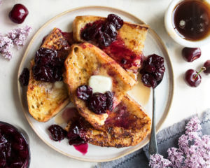 Sourdough French Toast with Ricotta & Cherries