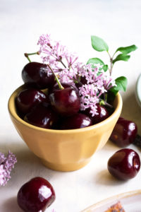 fresh cherries & lilacs