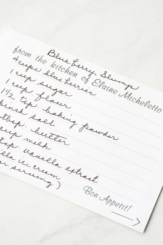 my grandma's handwritten recipe card