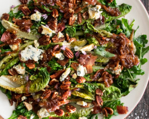 Grilled Romaine Salad with Caramelized Shallot Vinaigrette