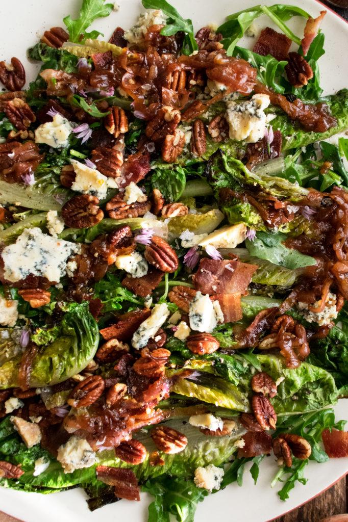 Grilled Romaine Salad with Caramelized Shallot Vinaigrette